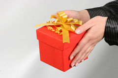 Gift box. Red gift box and Christmas Ornament Stock Images