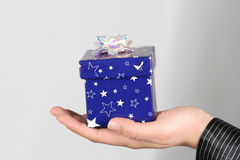 Gift box. Blue gift box and Christmas Ornament Royalty Free Stock Photos