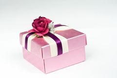 Gift box. With ribbon and rose Stock Photo