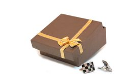 Gift box. And set of earings Royalty Free Stock Photos
