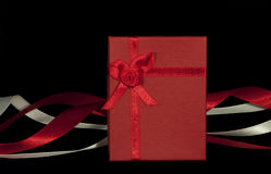 Gift box. With ribbons isolated on black Stock Image