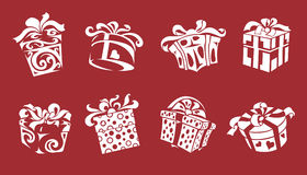 Gift box. The eight stylized gift boxes, illustration Stock Images