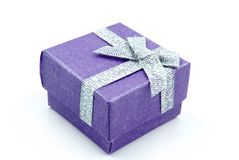 Gift Box. Blue Gift Box with shiny silver ribbons Stock Images