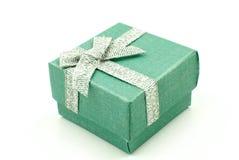 Gift Box. Green Gift Box with shiny silver ribbons Royalty Free Stock Image