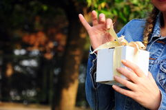 Gift box. A woman opens her gift Stock Image