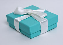 Gift box. With white bow on white background Stock Photo