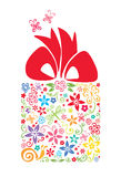 Gift box. Vector illustration - gift box of flowers Stock Photography