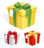 Gift Box. A gift box in 3 color versions Stock Photo
