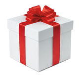 Gift box. Gift box with ribbon and bow on the white background, clipping path included Stock Images