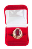 Gift box. And ring with red gem inside isolated over white Royalty Free Stock Images