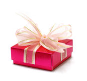 Gift box. Pink gift box isolated on white Stock Photo