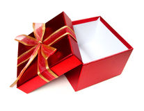 Gift box. Empty red gift box with bow isolated on a white background Royalty Free Stock Image