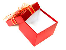 Gift box. Empty red gift box with bow isolated on a white background Royalty Free Stock Photo