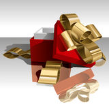 Gift Box. Open Gift Box with Golden Bow on White Background. Vector Illustration (EPS v.8.0 Stock Photo