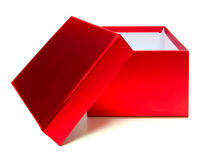 Gift box. Empty red gift box with lid on a white background Royalty Free Stock Photo