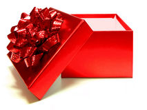 Gift box. Empty red gift box with lid and bow on a white background Stock Photography