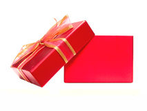 Gift box. Empty red gift box with lid and bow on a white background Royalty Free Stock Photography