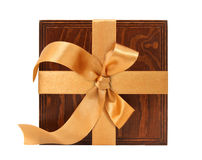 Gift box. With the golden ribbon. Isolated. White background Royalty Free Stock Photography