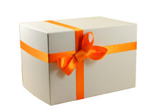 Gift box. Gift with ribbon and bow isolated on the white background Royalty Free Stock Photo