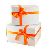 Gift box. Gift with ribbon and bow isolated on the white background Stock Photography