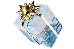 Gift box. Money gift boxes isolated on a white background Stock Photography