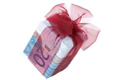 Gift box. Money gift box isolated on a white background Royalty Free Stock Image
