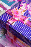 Gift box. The blue gift box on the table stock image
