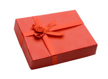 Gift box. A close up of a red gift box royalty free stock photos