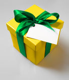 Gift box. With ribbon and empty label for your text stock photos