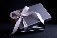 Gift Box. Silver gift box wrapped with satin ribbon royalty free stock photography