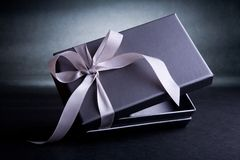 Gift box. Silver gift box wrapped with satin ribbon stock image