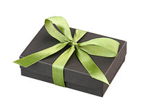 Gift box green ribbon isolated  Royalty Free Stock Image