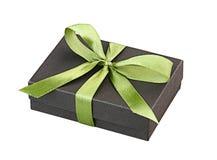 Gift box green ribbon isolated  Royalty Free Stock Image