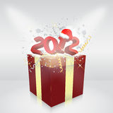 Gift box 2012 year. Grunge illustration Royalty Free Stock Image