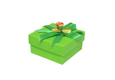 Gift box. Green gift box with a green ribbon. Isolated. White background Stock Photography
