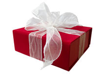 Gift Box. Present in a red gift box with white tulle ribbon. Isolated on white background Royalty Free Stock Image