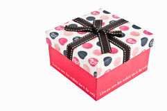 Gift box. With love text isolated on white W/PATH Royalty Free Stock Photography
