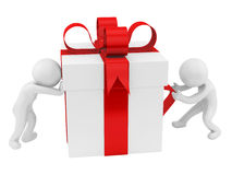 Gift box. Render of 2 man pushing/pulling a big gift box, isolated on white Royalty Free Stock Images