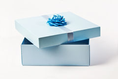 Gift box. Open present box over white background stock images