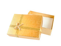 Gift box. With Ribbon gold on a white background Royalty Free Stock Photo