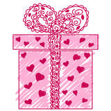 Gift box. Hand-drawn gift box doodle. Vector image Royalty Free Stock Photos