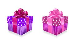 Gift box. Vector illustration of a red gift box with pink bow Stock Photos