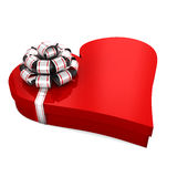 Gift box. In the shape of a heart with a bow on a white background;  3d illustration Stock Photography
