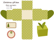 Gift box. Vector. Isolated. Christmas pattern. Empty label. Template Royalty Free Stock Photo