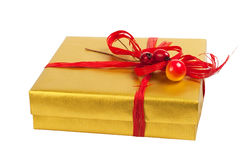 Gift box. Golden gift box. Isolated on white background, saved with clipping path Stock Images