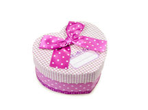 Gift box. Pink gift box with ribbon on white background Royalty Free Stock Photos