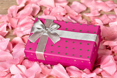 Gift Box. A purple Gift Box with gray ribbon lying on the petals royalty free stock photo