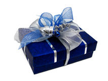 Gift Box. Blue box with silver ribbon Stock Photos