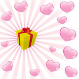 Gift box. A gift box and hearts, valentines image royalty free illustration