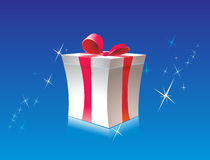 Gift box. On blue background Royalty Free Stock Image